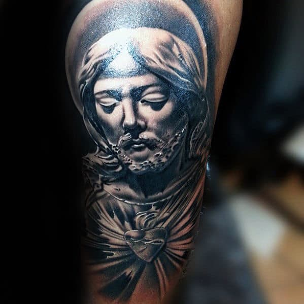 Glowing Sacred Heart With Jesus Face Male Arm Tattoos