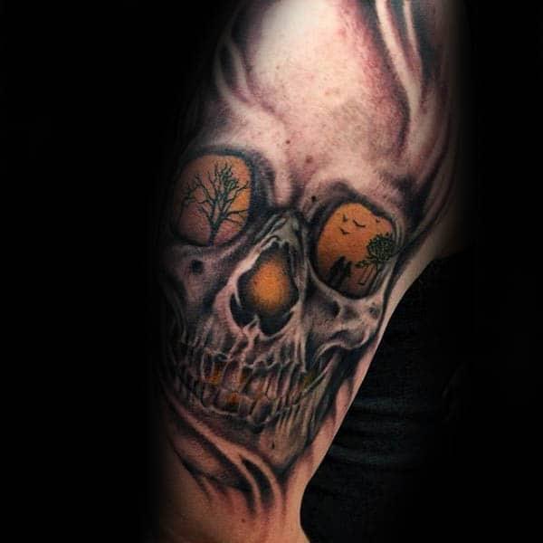 Glowing Skull Silhouette Mens Arm Tattoos