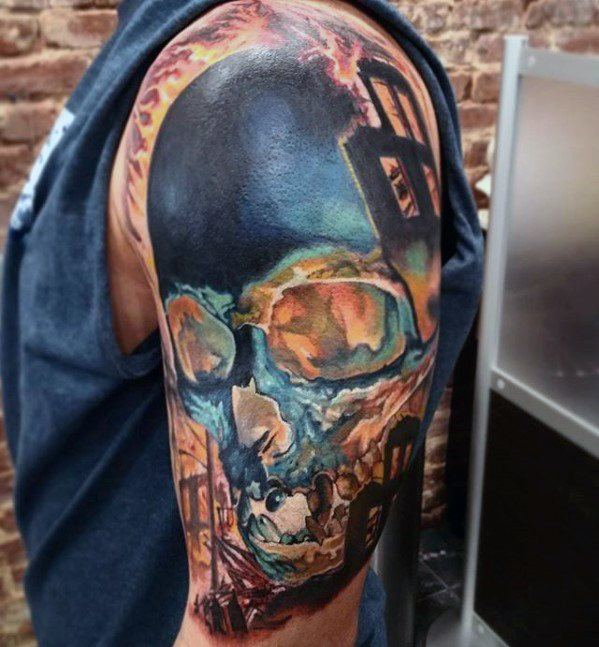 Glowing Skull Tattoo Cover Up Sleeve For Guys