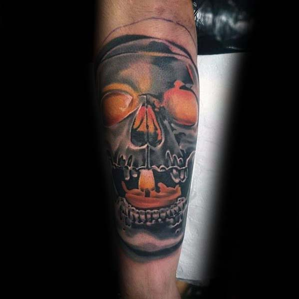 Glowing Skull With Orange Candle Badass Guys Inner Forearm Tattoos