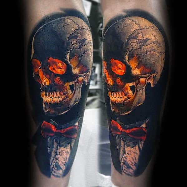 Glowing Skull With Suit And Tie Mens Unusual Realistic 3d Leg Tattoos