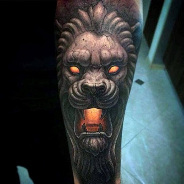 Glowing Stone Lion Mens Forearm Sleeve Tattoos