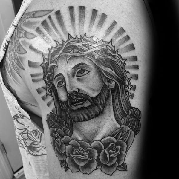 Glowing Traditional Jesus Mens Arm Tattoo