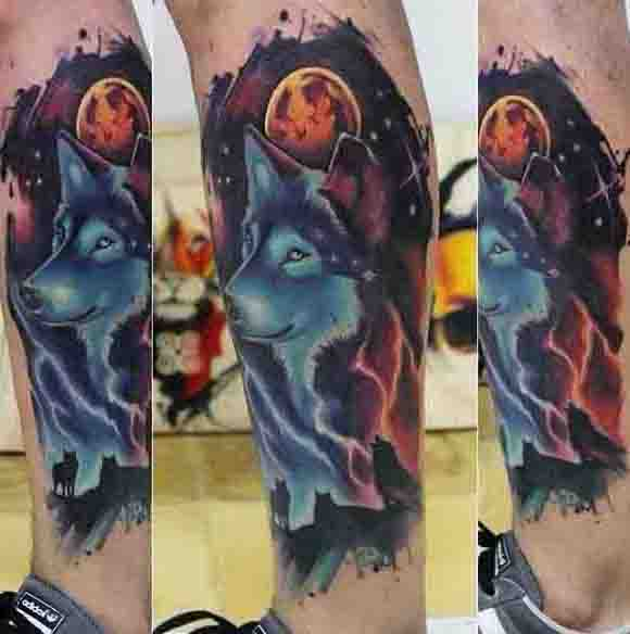 Glowing Wolf And Orange Moon Mens Leg Sleeve Tattoo Design Ideas