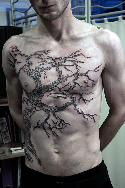 Gnarled Oak Tree Branches Tattoo On Torso For Guys