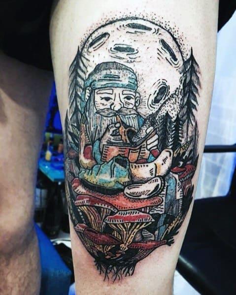 Gnome Guys Tattoo Designs On Thigh