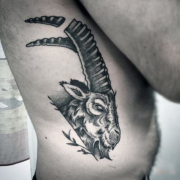 Goat Animal Mens Rib Cage Side Tattoo Traditional