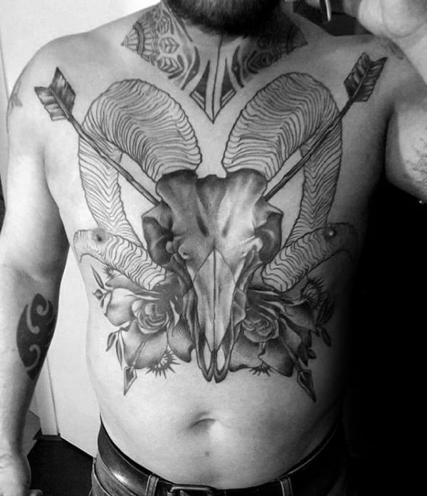 Goat Skull With Arroows Mens Chest Tattoos