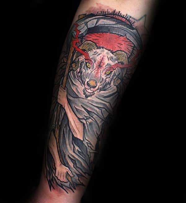 Goat With Scythe Grim Reaper Mens Forearm Tattoo Designs