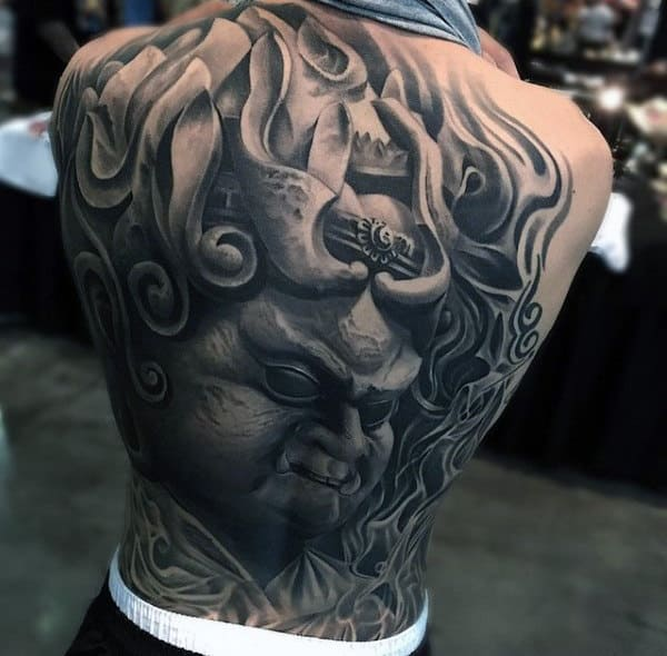 Goblin Portrait Tattoo With Greyish Flames Mens Full Back