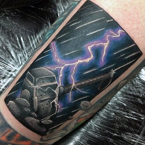 God Of Thunder Mens Mjolnir Arm Tattoos