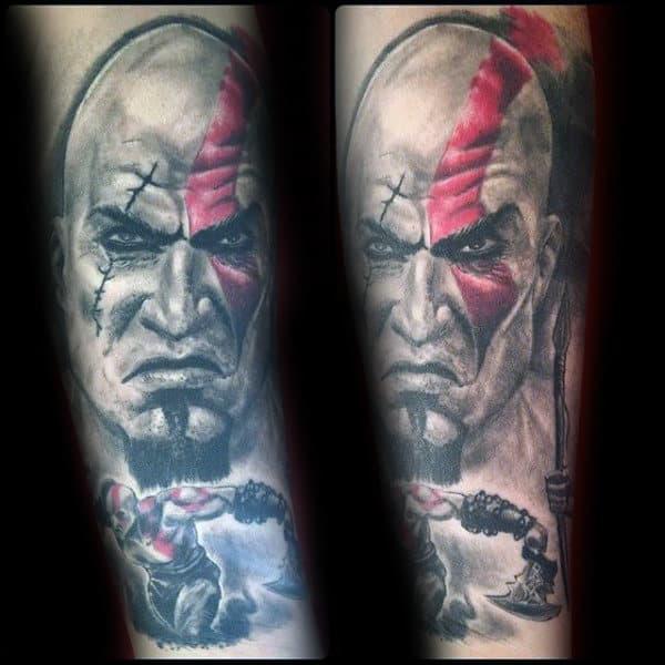 God Of War Guys Kratos Mens Leg Tattoo