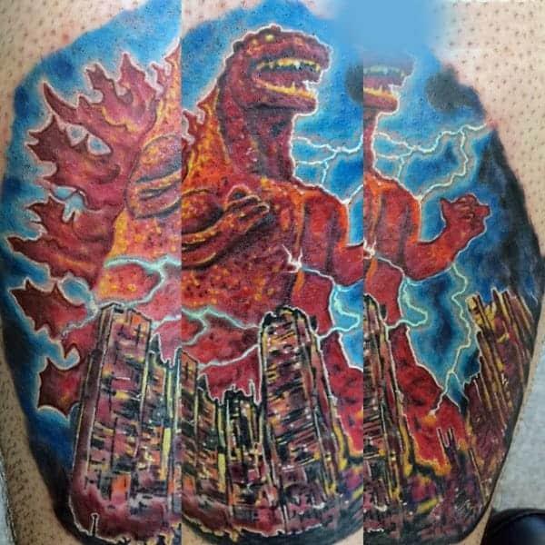 godzilla-destroying-cities-with-lightning-tattoo-for-guys