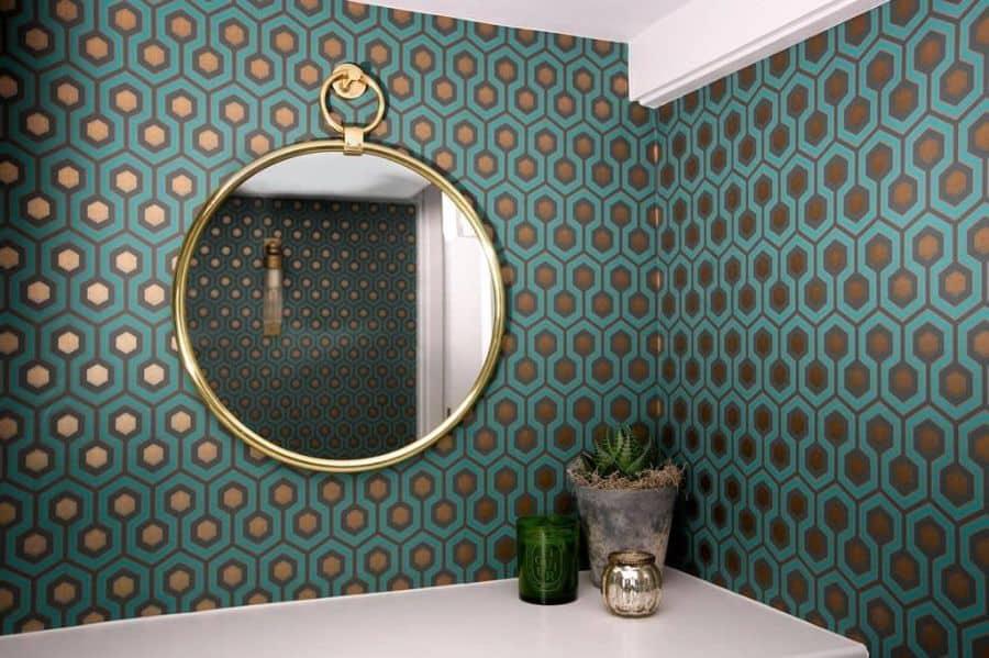 Gold Accent Bathroom Wallpaper Ideas Venmorganinteriors