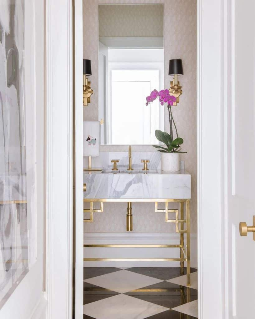 Gold Accent Powder Room Ideas 3 Costachristmedia