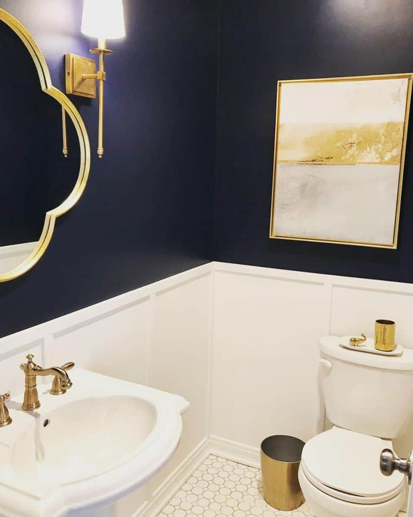Gold Accent Powder Room Ideas Theredfernhome