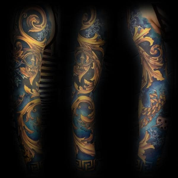 Gold And Blue Ink Filigree Full Sleeve Tattoos For Men