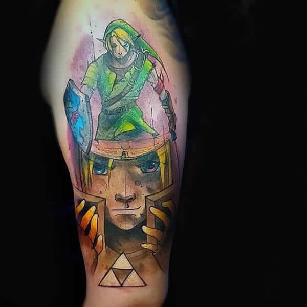 Gold And Green Guys Upper Arm Zelda Themed Tattoo Ideas