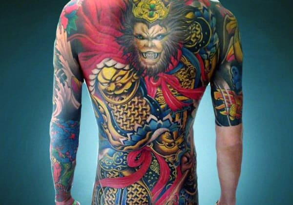 Gold And Red Monkey King Mens Colorful Back Tattoos