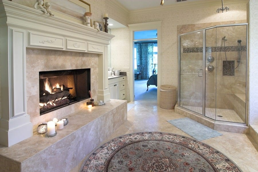 Gold And White Interior Ideas For Marble Bathroom
