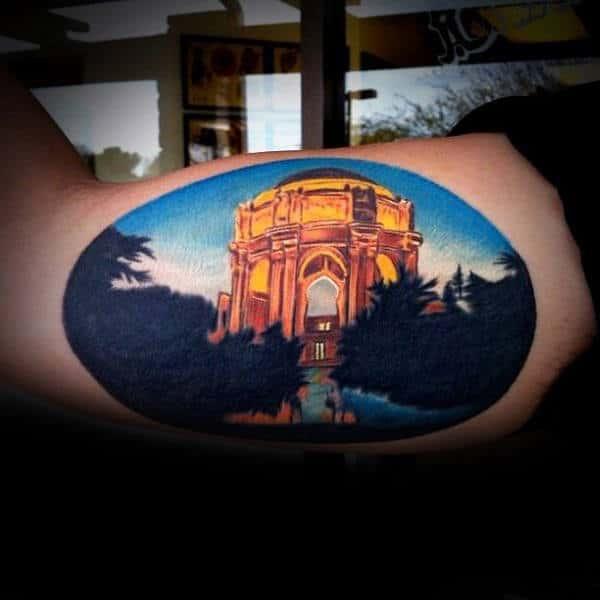 Gold Building Mens Landscape Bicep Tattoos