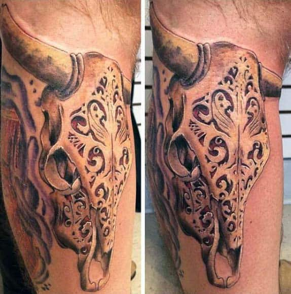 70 Bull Skull Tattoo Designs For Men - Western Ideas