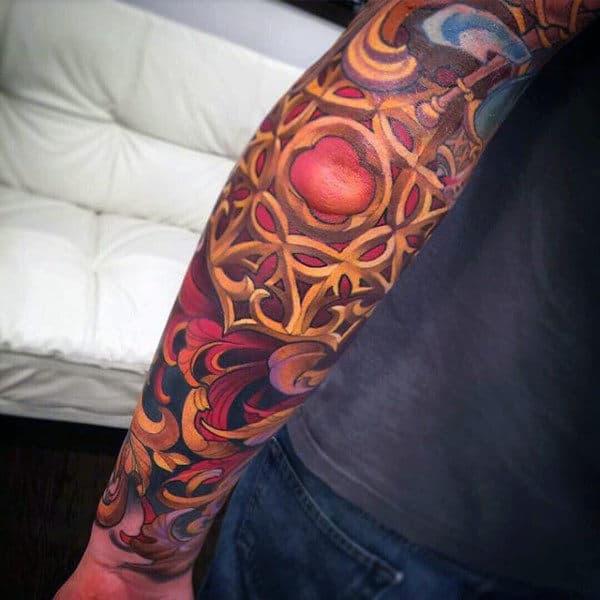 Gold Filigree Mens Full Sleveve Tattoos