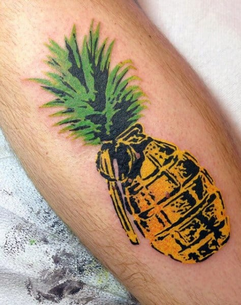 Gold Grenade Pineapple Tattoo On Men On Arm