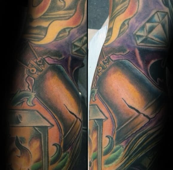Gold Liberty Bell Male Sleeve Tatoos