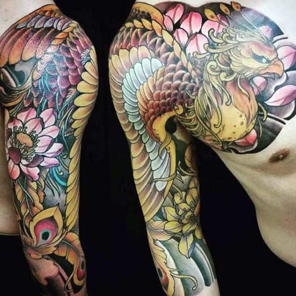gold-phoenix-mens-japanese-half-sleeve-and-chest-tattoo