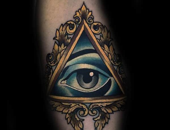 Gold Picture Frame Eye Of Providence Mens Forearm Tattoo