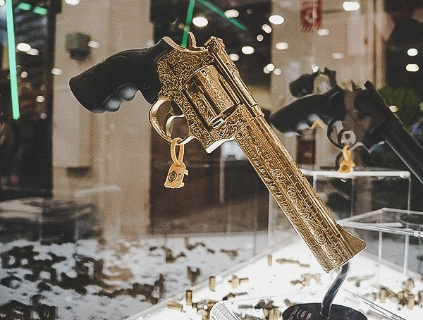 Gold Plated Engraved Custom Revolver