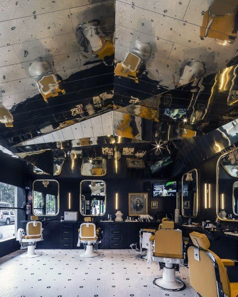 Gold Reflective Ceiling Barber Shop Designs