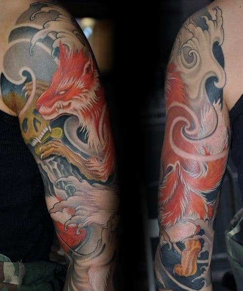 Gold Skul With Kitsune Mens Half Sleeve Tattoos