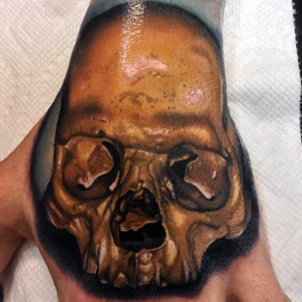 Gold Skull Mens 3d Hand Tattoos