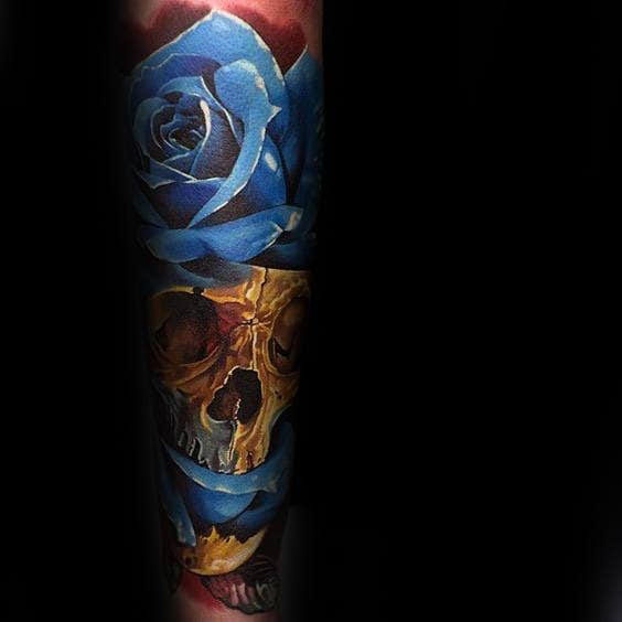 Gold Skull With Blue Realistic Rose Mens Forearm Sleeve Tattoos