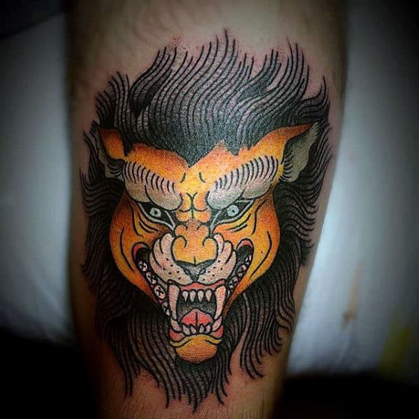 Gold Traditional Lion Male Leg Tattoo Designs