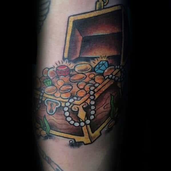 Gold Treasure Chest Mens Arm Tattoos