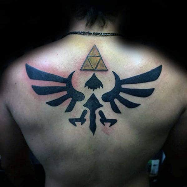 Gold Triforce With Blcak Zelda Symbol Mens Upper Back Tattoos