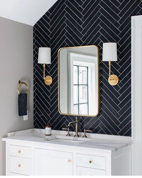 Gold Wall Sconce Navy Bathroom Lighting Ideas Inspiration
