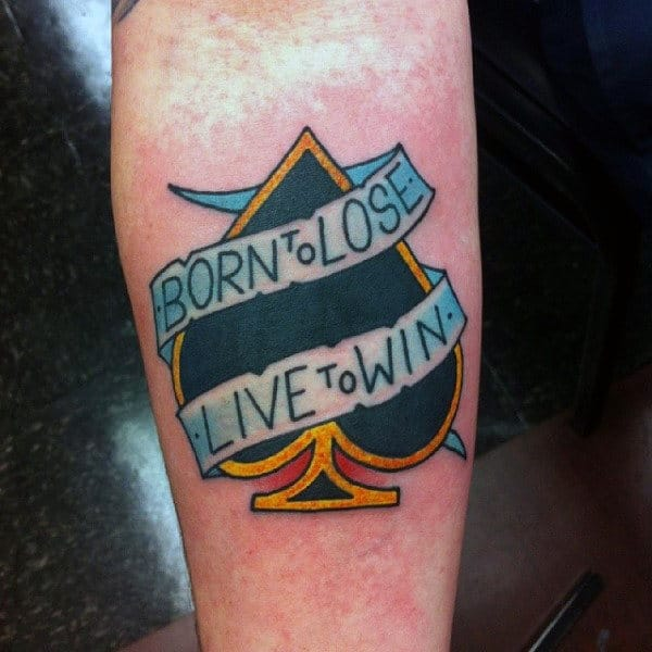 Golden Bordered Ace With Quotes Tatoo Male Forearms