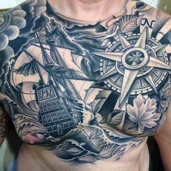 Golden Compass Tattoo For Men
