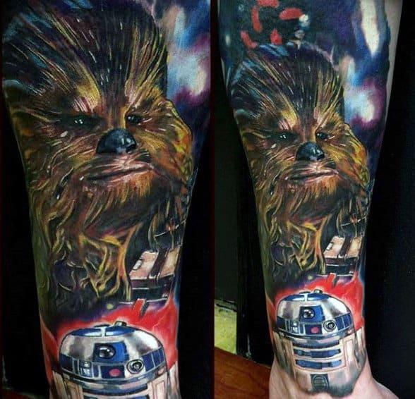 Golden Fur Beast Star Wars Tattoo Male Forearms