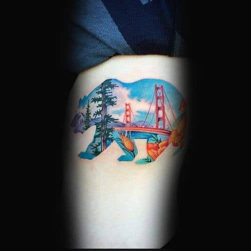 Golden Gate Bridge Inside California Bear Mens Arm Tattoo