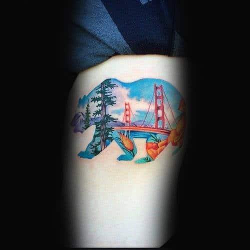 Golden Gate Bridge Inside California Bear Mens Arm Tattoo