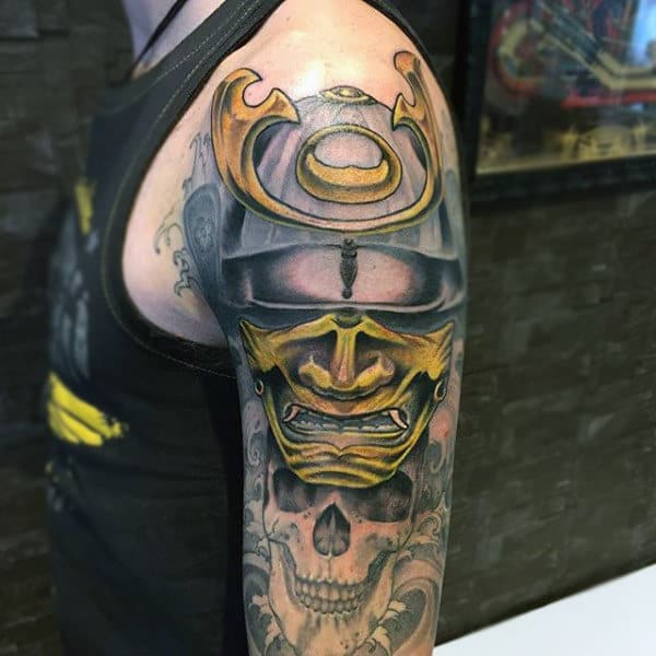 Golden Samurai Mask And Skull Cool Half Sleeve Tattoo For Men