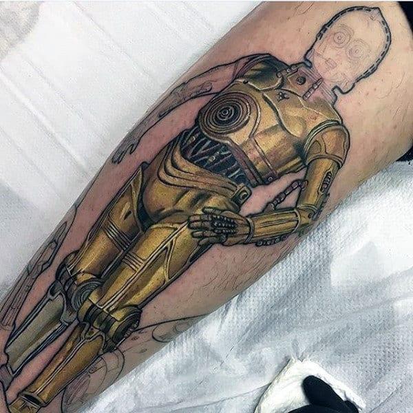 Golden Shielded Star Wars Tattoo Male Forearms