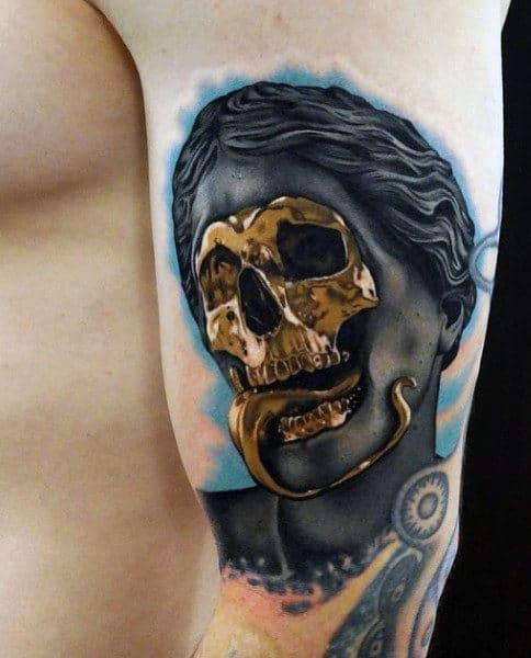 Golden Skeleton Abstract Tattoos For Men On Upper Arm