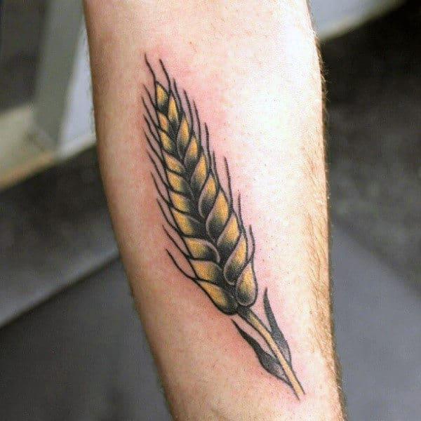 Golden Wheat Mens Inner Forearm Tattoos
