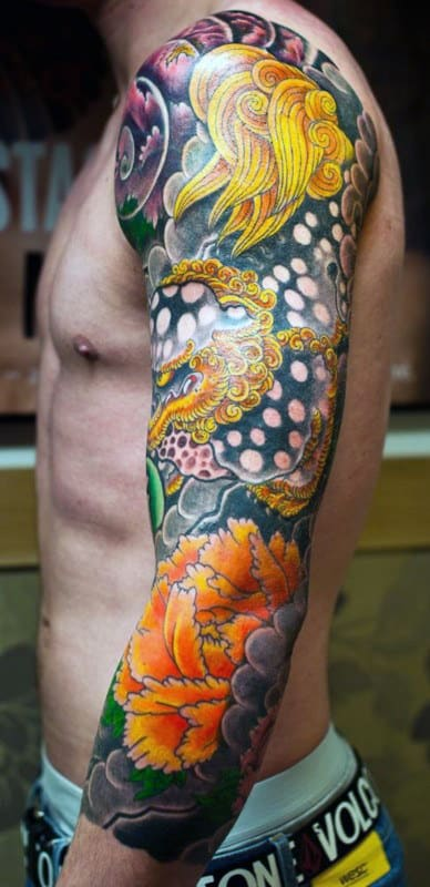 Golden Yellow Japanese Sleeve Tattoo Men